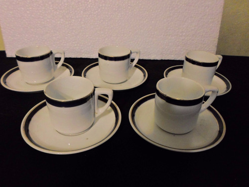juego 5 tazas y platos de café de cerámica holandesa