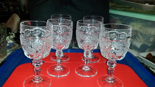 juego 6 copas de vino francesas cristal  d´ arque