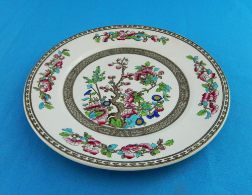 juego 6 platos llanos loza inglesa indian tree de 25,5 cm