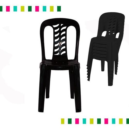 juego 6 sillas de plastico negras bistro garden life