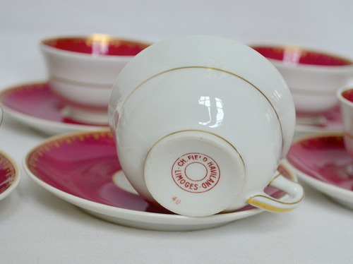 juego 6 tazas cafe haviland limoges france bordeaux oro