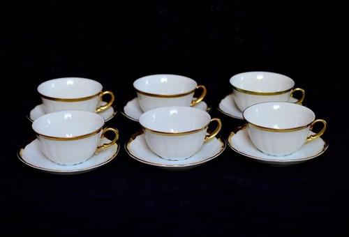 juego 6 tazas de café porcelana verbano blanco guarda oro