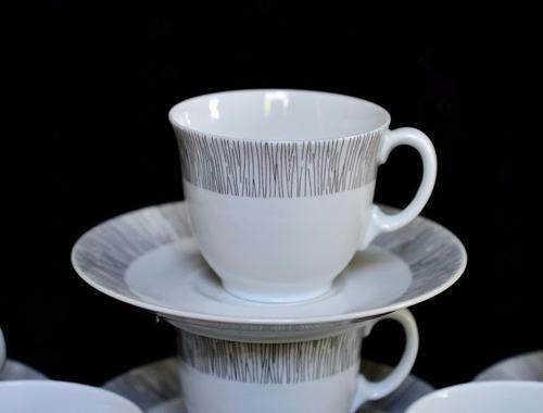 juego 6 tazas para café modernista porcelana b & co limoges