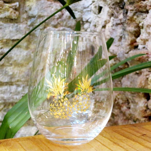juego 6 vasos bombé  vidrio ananá 600 ml copas sin pie tallo