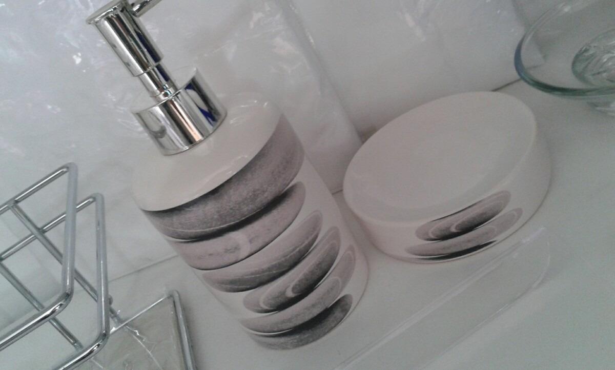Juego accesorios ba o oriental dispensador ceramica 4 for Accesorios bano ceramica