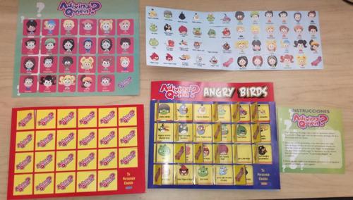 juego adivina quien angry birds, piezas en carton economico