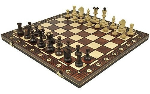 juego ajedrez madera brown senator piezas ajedrez pesadas 16
