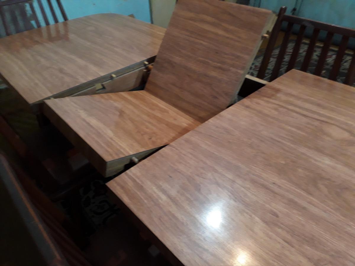 Juego Antiguo De Mesa Extensible + 6 Sillas Para Comedor - $ 7.500 ...