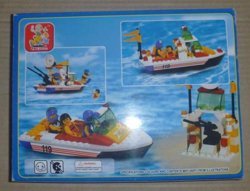 juego armable lego en forma de lancha rescate 114pcs juguete