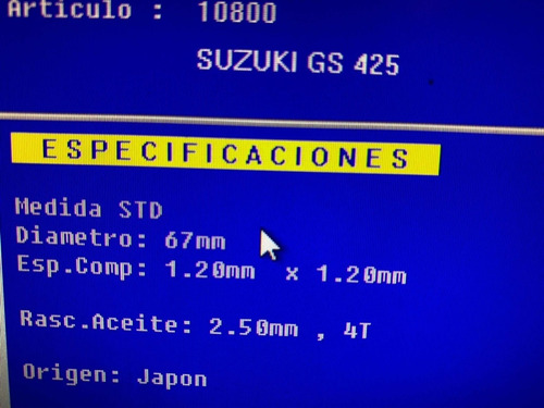 juego aros ha 425 67mm suzuki