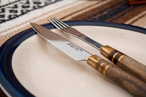 juego asado artesanal mission cuchillo, tenedor vaina. m874