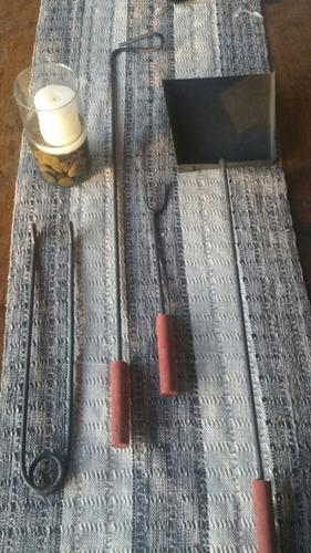juego  asador 4 piezas pala ,atizado r, pinza  y pinche