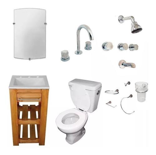 juego baño completo campo deck muebles griferías sanitarios