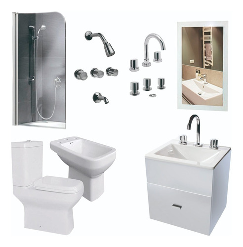 juego baño completo inodoro bidet mampara vanitory  40cm