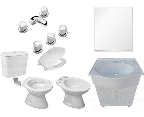 juego baño completo inodoro bidet mochila vanitory griferia