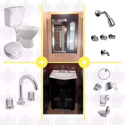 juego baño completo vidrio griferías sanitarios accesorios