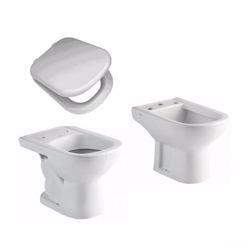 juego baño ferrum bari corto inodoro, bide tapa asiento tkxm