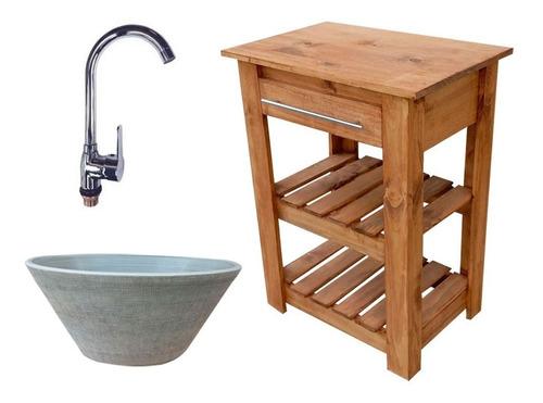 juego baño griferia bacha moderna vanitory madera lavatorio
