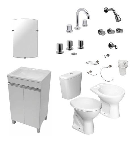 juego baño mueble grifería sanitario accesorios espejo envio