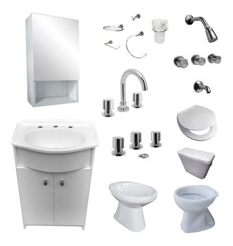 juego baño vanitory botiquin grifería sanitarios accesorios