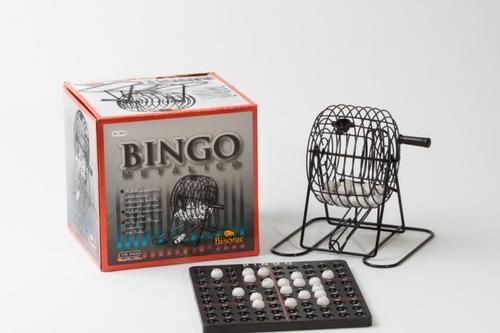 juego bingo con bolillero metálico loteria familiar bisonte