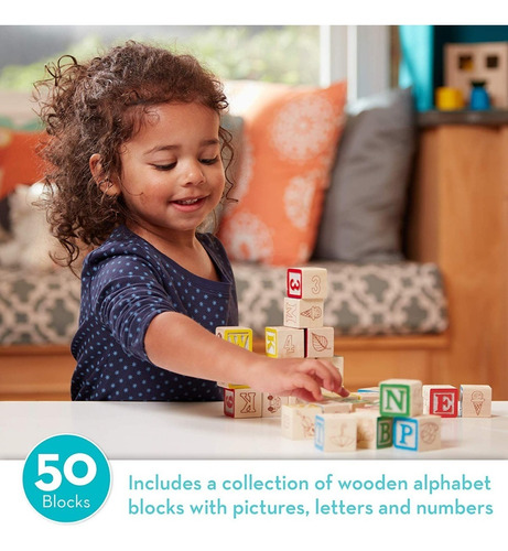 juego bloques madera melissa & doug deluxe wooden abc/123
