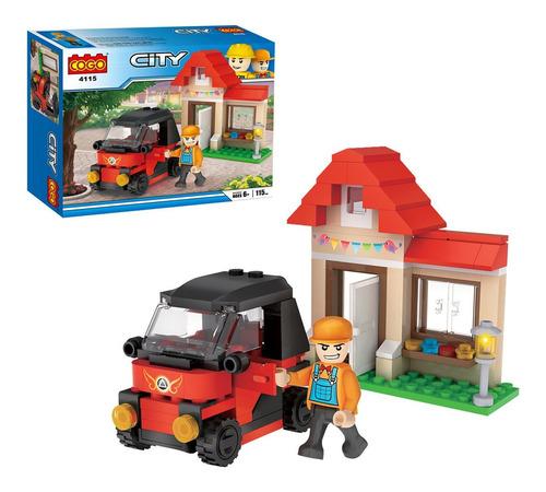 juego bloques niños armar auto con casa didactico cogo city
