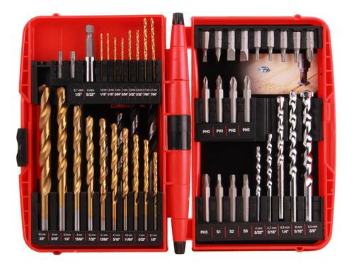juego brocas 52 pz perforación taladro estuche mikels