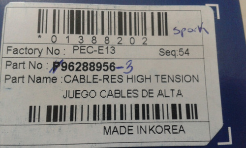 juego cable de bujia spark koreano 96288956 rt