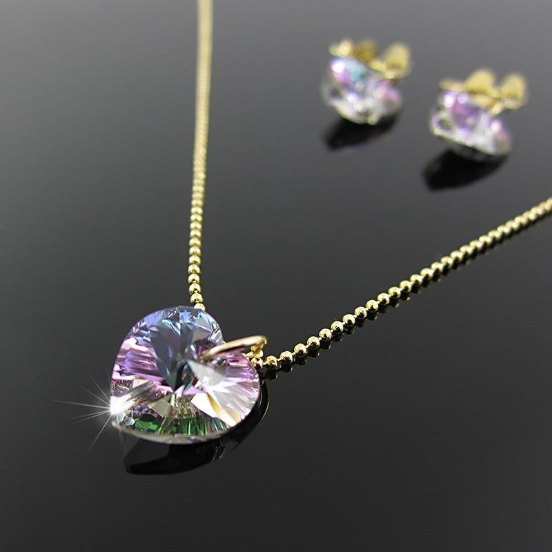 d8d1ef4b697a juego cadena corazon swarovski collares aretes mujer oro gf. Cargando zoom.