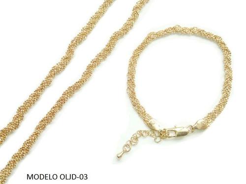 juego cadena y pulsera en oro laminado para damas