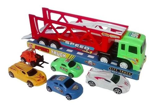 juego camión grúa con 5 carritos de plástico pista didáctico