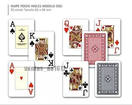 Juego Cartas Poker Naipes Fournier 818 Set 55pz Rojo Negro Bs