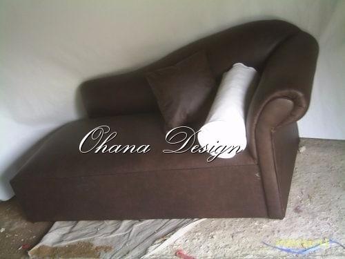 juego chaise longe sillon + puff + mesa ecocuero