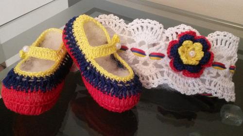 juego cintillo/escarpines tricolor venezuela para bebé