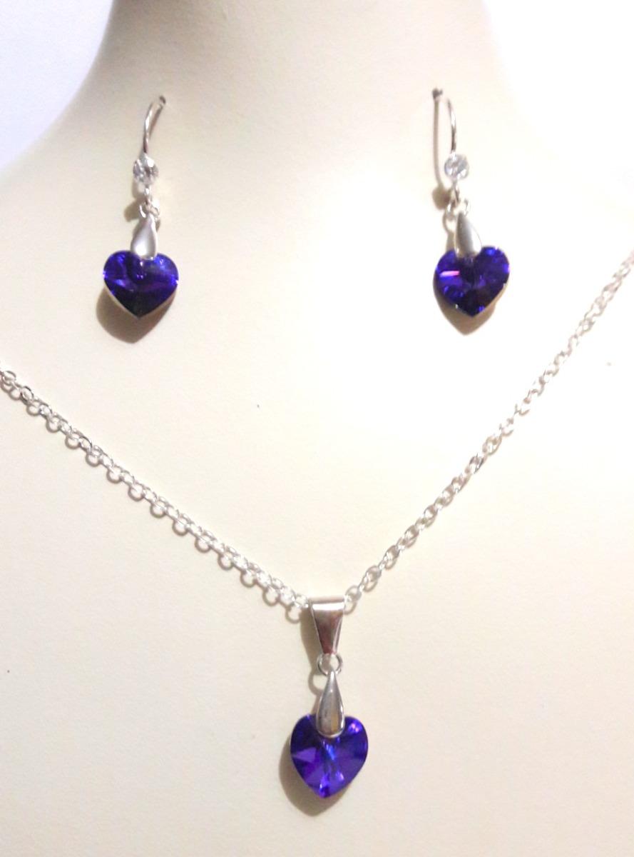 6b6bd9e2541a Juego Collar Aretes Dije Plata 950 K Swarovski Mujer Regalo - S  50 ...