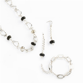 1a905cff441f Juego Collar Aretes Pulsera Baño De Oro Blanco Rodio Nice118