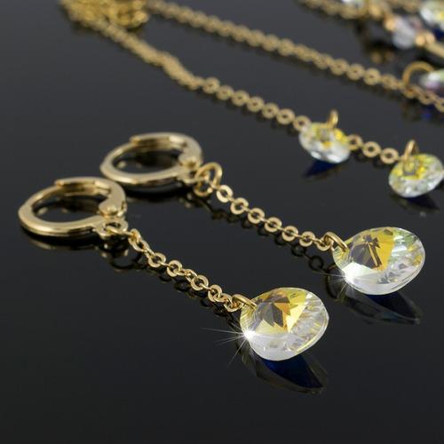 juego collares mujer aretes pulsera swarovski cadena oro gf