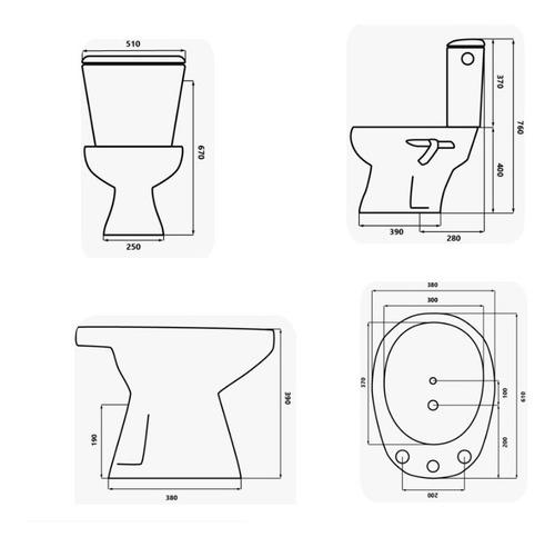 juego combo baño inodoro + mochila + bidet + columna