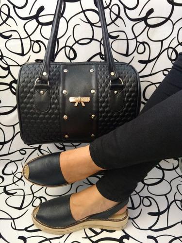 juego combo elegante en negro bolso y sandalia  envío gratis