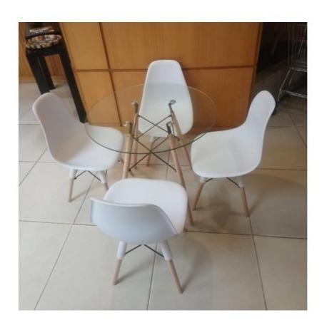 juego comedor 4 puestos redondo vidrio sillas eiffel