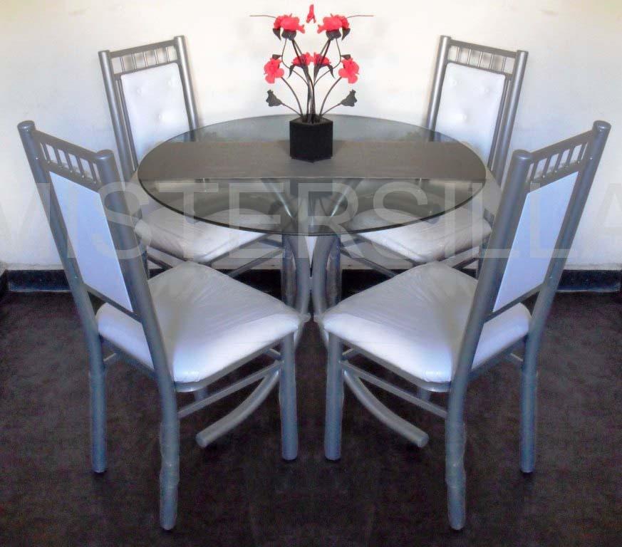 juego comedor sillas imperiales mesa vidrio redonda m