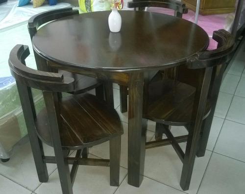 juego comedor 4 sillas madera mesa redonda.