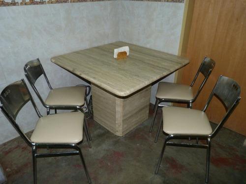 juego comedor 4 sillas marmol puro base y mesa