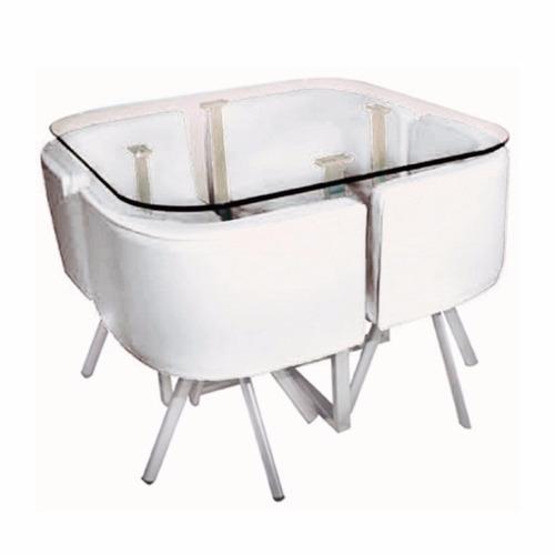 Juego comedor 4 sillones mesa de vidrio en for Vidrio para mesa de comedor