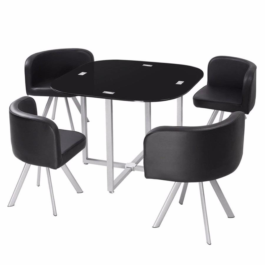 Juego comedor 4 sillones mesa de vidrio en for Sillones mesa comedor
