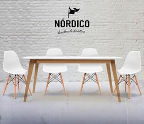Juego Comedor 6 Sillas Eames Y Mesa 120 Diseño Nordico