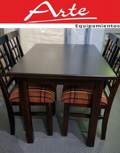 Juego comedor 6 sillas madera lustrado tapizado for Juego comedor madera 6 sillas