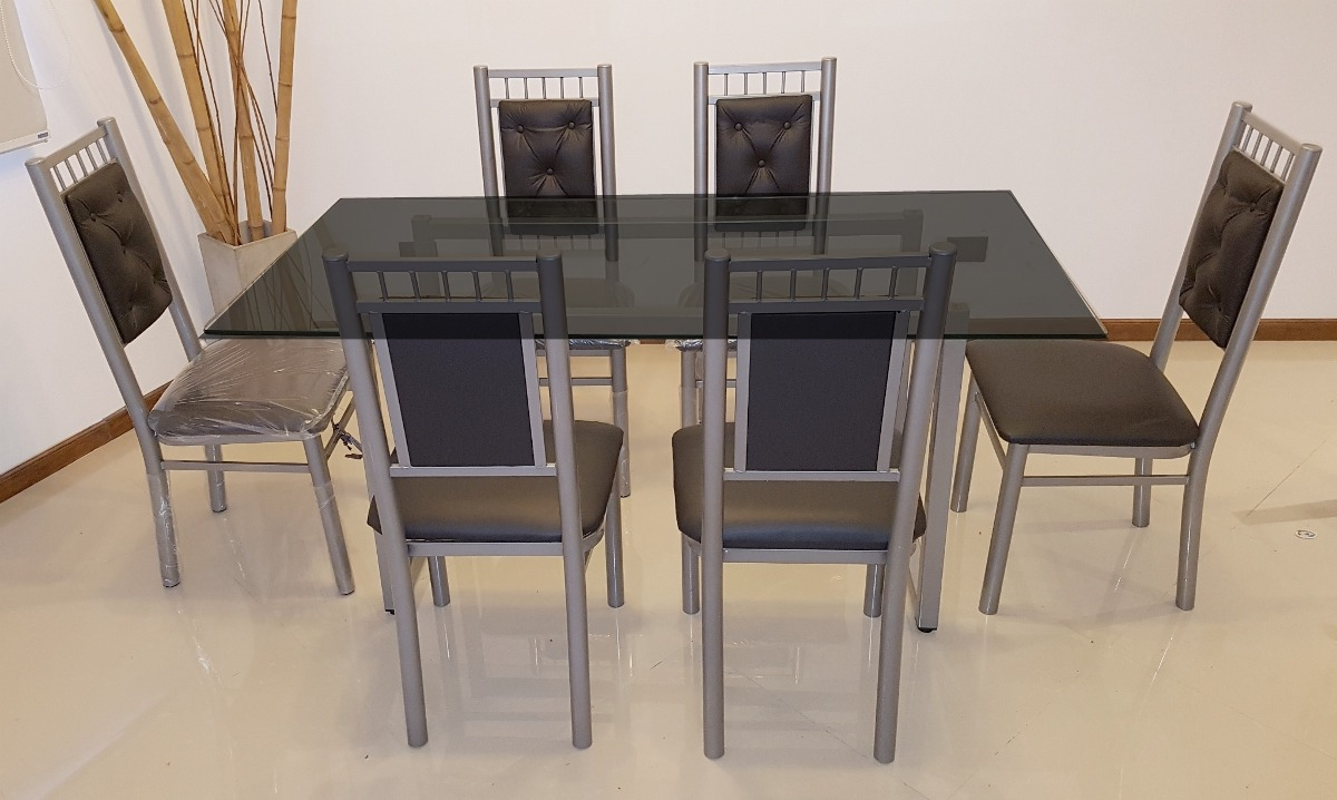 Juego Comedor 6 Sillas Mas Mesa Vidrio 1,60 X 0,80 M Moderno ...