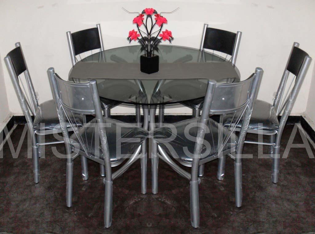 Mesas redondas con sillas for Comedor de vidrio con 6 sillas